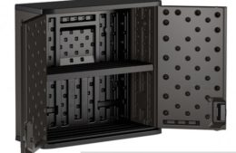 """The Suncast Commercial Wall Cabinet has 1 shelf which you will not use if you go with insert Option """"A"""""""