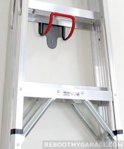 Vertical ladder storage using the Art of Storage UH2000 Hook