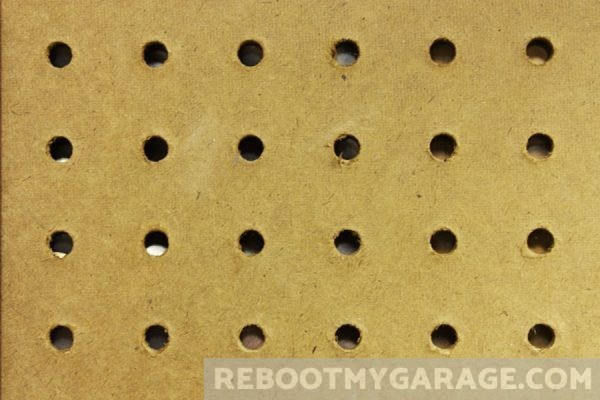 Old fashioned fiberboard pegboard might contain formaldehyde
