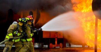 Fire hose at fire
