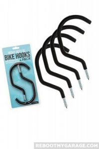 Many wall hooks and bike hooks work well but have weak rubber covers