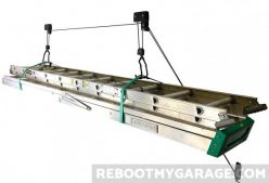 The StoreYourBoard ceiling hoist holding two ladders