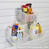 Large bins carrying caulk, towels and gallon jugs