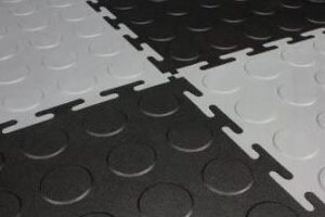 PVC tile interlocks so there are no screws or nails