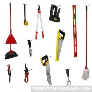 Broom, level, shears, spade hanging on Proslat 13002 hooks