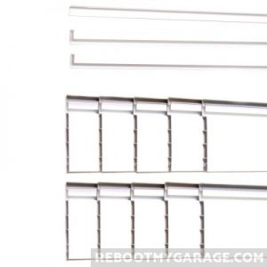 """The Proslat tracks are 4 ft. or 8 ft. long and a just under 5"""" high. They can be cut to make room for electrical outlets or for short spaces. The trim goes around the outside."""
