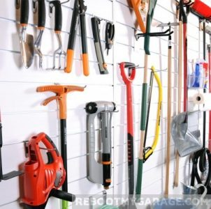 Hang leaf blowers, shelves, pruners, rakes, vacuum cleaners, sports equipment and cleaning supplies