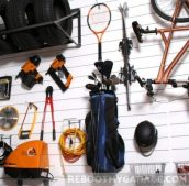 Hang tennis and golf equipment. Hang bikes vertically. Hang power tools, electrical cords, saws and vacuums.