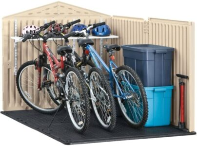 You might put a floor stand up front to hold the bikes upright.