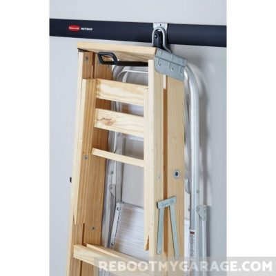 The Ladder Hook holding a ladder and a step ladder