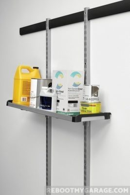 Store auto fluids and cleaning supplies on the vertical rack sub-system