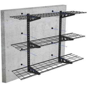 Mount Fleximounts adjustable shelves onto concrete walls.