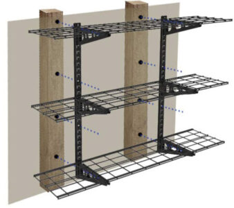 Mount Fleximounts adjustable shelves onto garge wall studs.