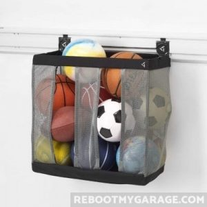 The best sports ball hanging basket is the Gladiator Sports Ball Basket.
