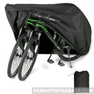 Bike covers come in many sizes. Use kickstands to keep the bikes upright.