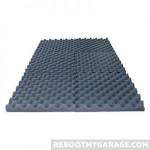 Foam egg crates deflect but do not absorb noise. But they are cheaper than gypsum and mass loaded vinyl.