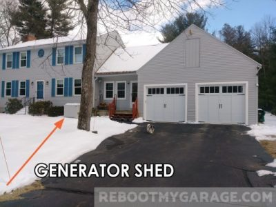 Generator shed in the front of the house