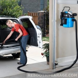 The winning vac is wall-mounted, has a wet-dry function, and a 21 foot hose.