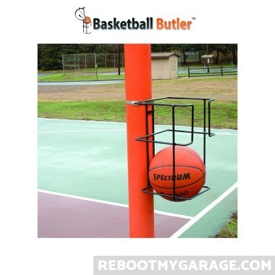 The 2-ball Butler mounted on a pole. Pole hardware (clamps) is included
