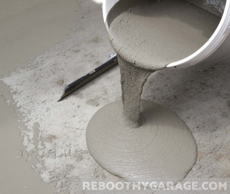 Pouring Flo-Coat from a pail