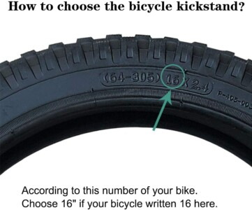 Use tire mark to get kickstand size required for this bike