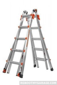 The Little Giant 22 Ft. Ladder configured as a step ladder