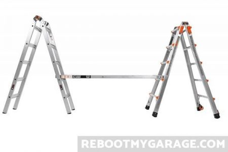 The Little Giant 22 Ft. Ladder configured as a scaffold