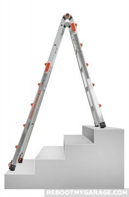 The Little Giant 22 Ft. Ladder configured to use on the stairs