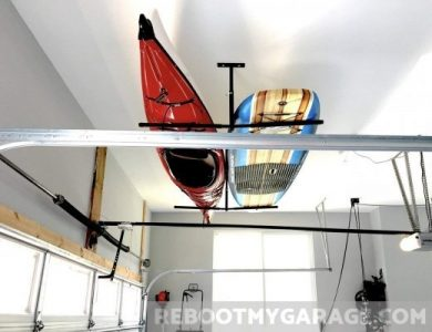 Store ladders or kayaks in the Store Your Board Hi-Port ceiling rack