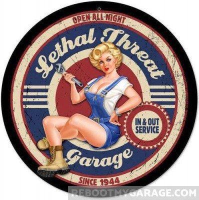 Lethal Threat Garage Since 1944 Sign