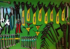 Well organized tools hanging from wall