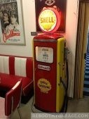 Red and Yellow Shell Gas Pump