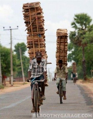 Lumber storage on bikes