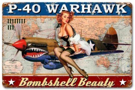 P-40 Warhawk Bombshell Beauty sign