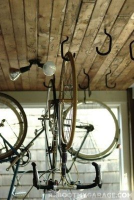 Open ended ceiling bike hook