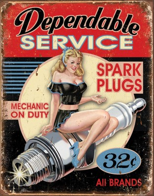 Dependable Service Spark Plugs, Mechanic on Duty, 32 cents, all brands sign