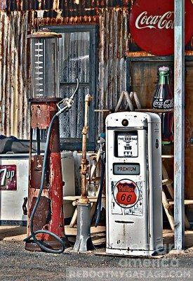 White gas pump