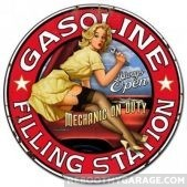 Gasoline filling station girl sign