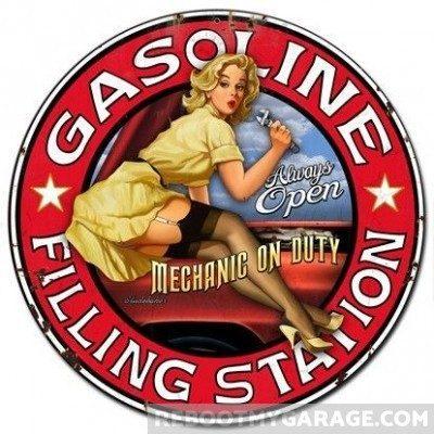 Gasoline filling station girl sign