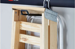 FastTrack Ladder Hook holding a step stool and a ladder