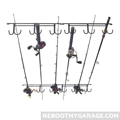 Fishingsir Ceiling Fishing Rod Rack holds rods and reels