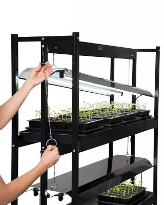 Gardners Supply 3 Tier Grow Shelf lighting adjustment