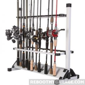 One Bass Fishing Rod Rack holds poles with reels