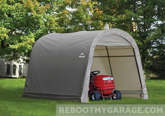 Store a tractor in the Shelter-Logic Popup Shed Garage