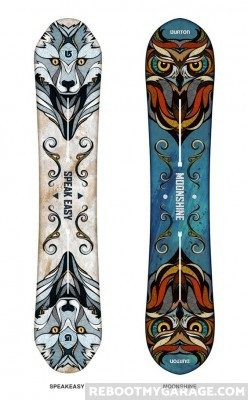 Owl and wolf snowboards