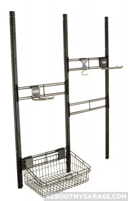 Shed accessory hooks and basket