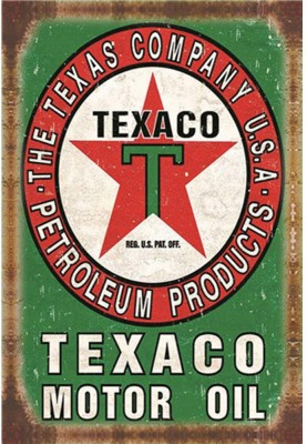 Texaco Company Petroleum Products sign