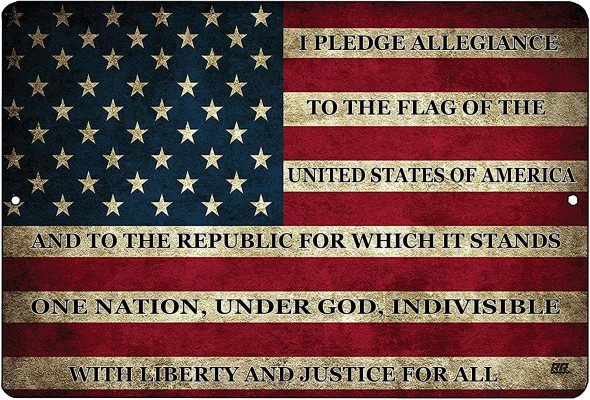 Pledge of Allegiane on American Flag sign