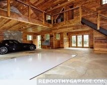 wood beam classic car garage