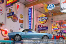 Classic car in a classic car garage